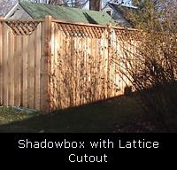 Shadowbox with Cut Out Lattice Top Wood Fence