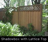 Shadowbox Lattice Top Wood Fence